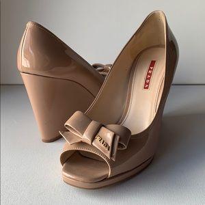 Prada Nude Patent Peep Toe Bow Wedges Euro 40 1/2